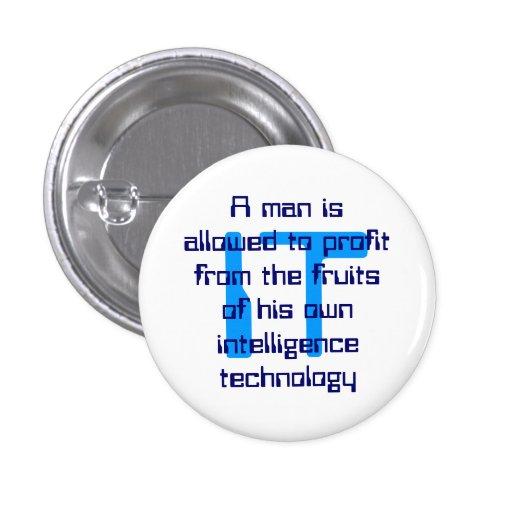 Un botón de la tecnología de la información con un pins