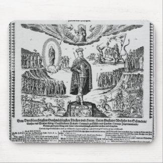 Un broadsheet alemán que representa al campeón de  alfombrillas de raton