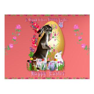 Un buen tres conejito Pascua Postal