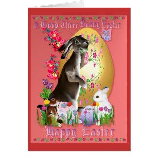 Un buen tres conejito Pascua Tarjeta De Felicitación