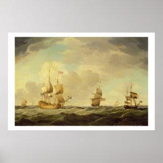 Un buque insignia inglés debajo de la vela fácil e impresiones