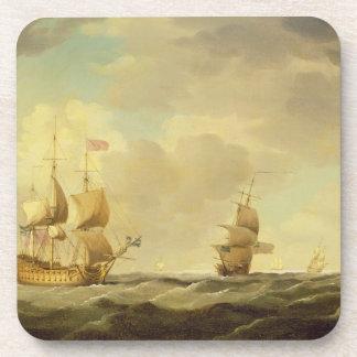 Un buque insignia inglés debajo de la vela fácil e posavaso