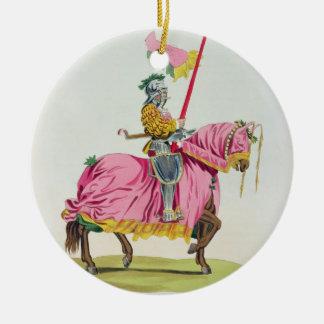 Un caballero armó para el enlace, 1512, grabado adorno redondo de cerámica