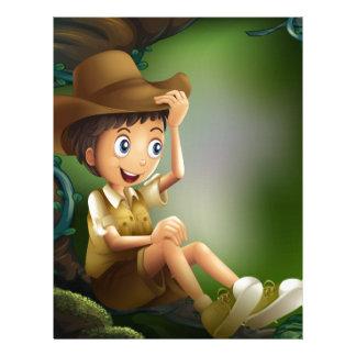 Un caballero joven en la selva tropical membretes personalizados