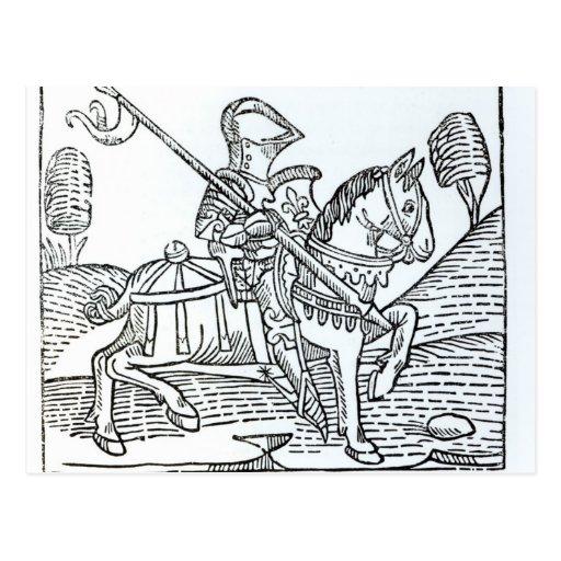 Un caballero, juego de Caxton del 'de los ajedrece Postal