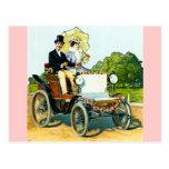 Un caballero y su señora Go For un paseo - vintage Postal