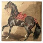 Un caballo árabe (w/c colocado en el papel) tejas  ceramicas