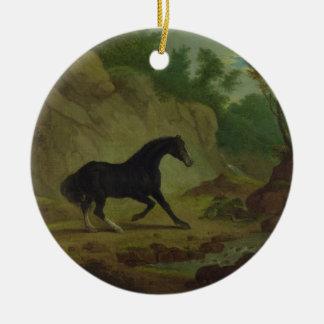 Un caballo asustado por una serpiente, 1792 adorno redondo de cerámica
