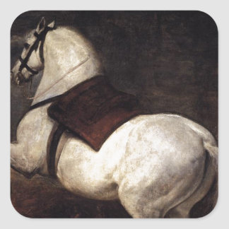 Un caballo blanco de Diego Velázquez Pegatina Cuadrada