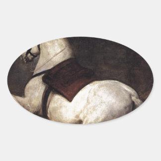 Un caballo blanco de Diego Velázquez Pegatina Ovalada