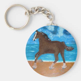 un caballo en la playa llavero redondo tipo pin