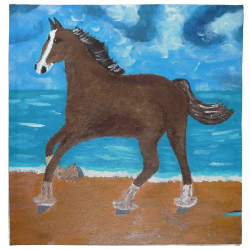 un caballo en la playa servilleta imprimida