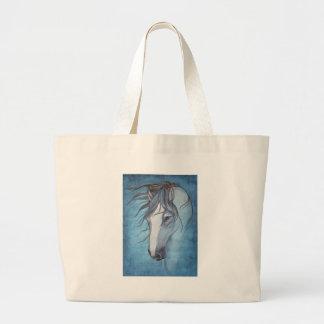 Un caballo melado azul en el viento bolsa tela grande