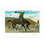 Un caballo salvaje Bucking en el rodeo anual de Tarjetas Postales