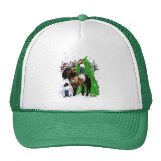 Un caballo y gorras del navidad del niño