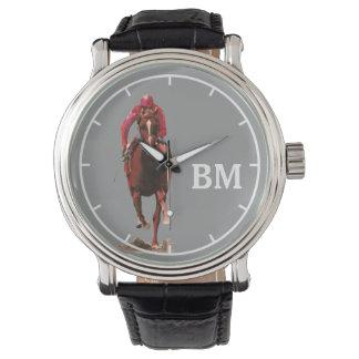 un caballo y iniciales del personalizado relojes de mano