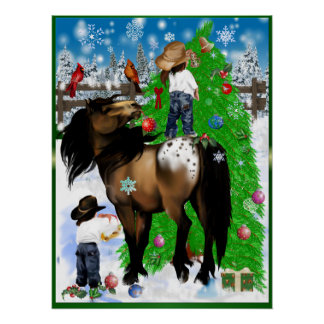 Un caballo y posters del navidad del niño