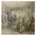 Un café, Constantinopla, 1854 (pluma y tinta y Azulejos Cerámicos