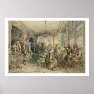 Un café, Constantinopla, 1854 (pluma y tinta y Póster