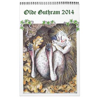 Un calendario 2014 del erizo de la página de Olde