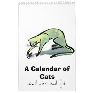 Un calendario de gatos ratones y pescados de and