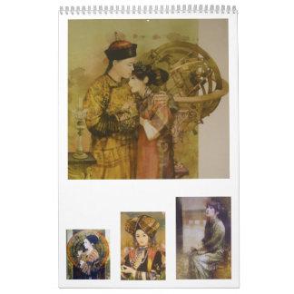 Un calendario de las señoras del chino tradicional