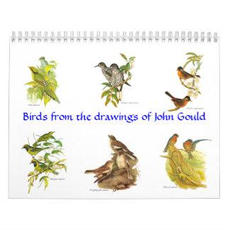 Un calendario de los painitings del pájaro de Juan
