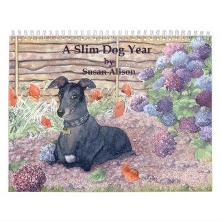 Un calendario delgado del año del perro