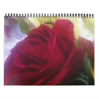 Un calendario llenado rosa