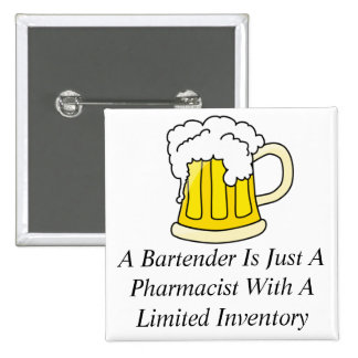 Un camarero es apenas farmacéutico pin cuadrado