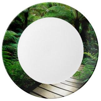 Un camino en el medio del bosque salvaje platos de cerámica