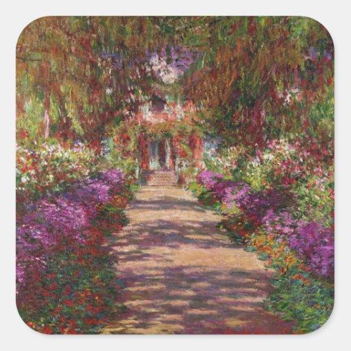 Un camino en Garden de Monet, Giverny, 1902 Calcomania Cuadradas