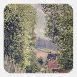 Un camino en Louveciennes, 1883 Pegatina Cuadrada
