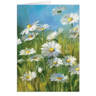 Un campo de las margaritas blancas tarjeta de felicitación