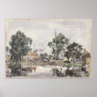 Un canal en La Haya, 1868 Impresiones