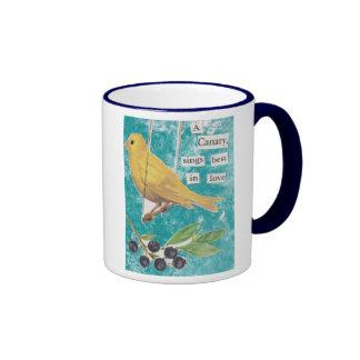 Un canario, canta mejor en amor taza de café