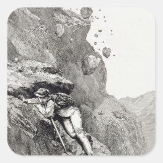 Un cañoneo en el Cervino, 1862, 'del Asc Pegatina Cuadrada