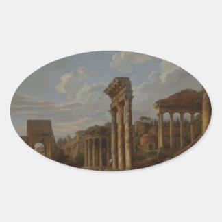 Un capricho del foro romano de Juan Pablo Pegatina Ovalada