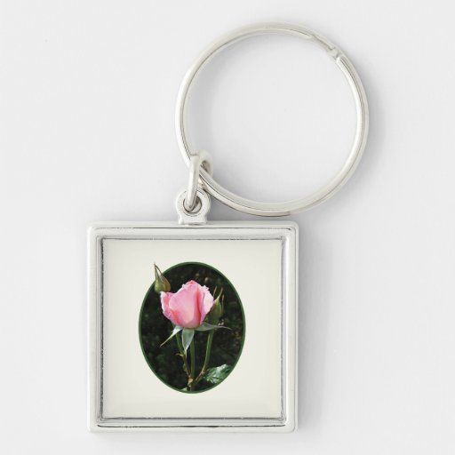 Un capullo de rosa rosado llaveros personalizados