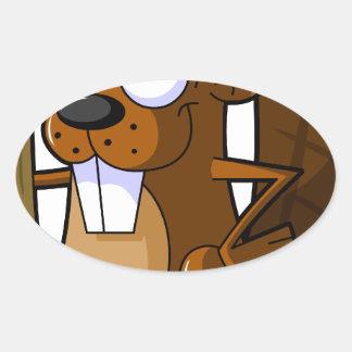 Un carácter lindo del castor del dibujo animado colcomanias oval personalizadas