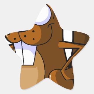 Un carácter lindo del castor del dibujo animado pegatina en forma de estrella