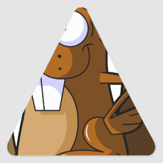 Un carácter lindo del castor del dibujo animado pegatina triangular