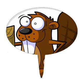 Un carácter lindo del castor del dibujo animado qu figura para tarta