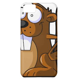 Un carácter lindo del castor del dibujo animado qu funda para iPhone 5C