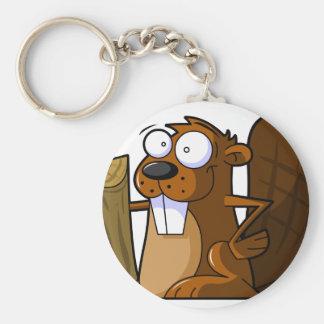 Un carácter lindo del castor del dibujo animado qu llavero redondo tipo pin