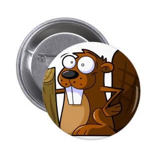 Un carácter lindo del castor del dibujo animado qu pin redondo de 2 pulgadas