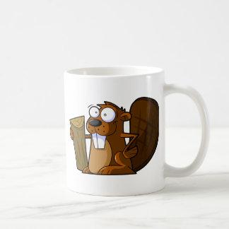 Un carácter lindo del castor del dibujo animado taza de café