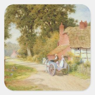 Un carril de Warwickshire Pegatina Cuadrada