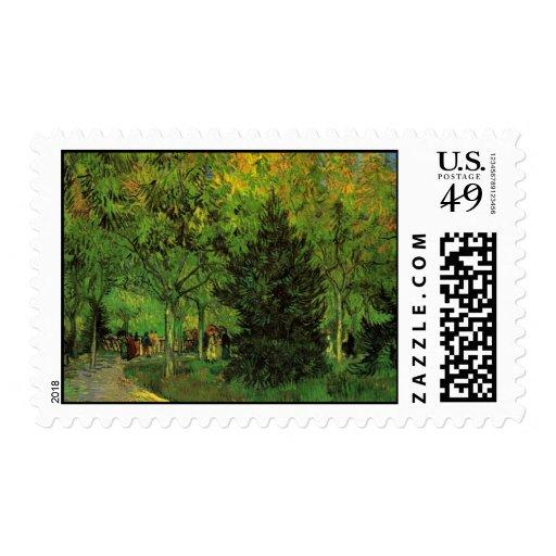 Un carril en el jardín público en Arles de Van Sello Postal