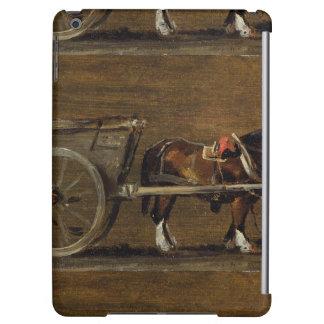 Un carro de la granja con dos caballos en arnés: U